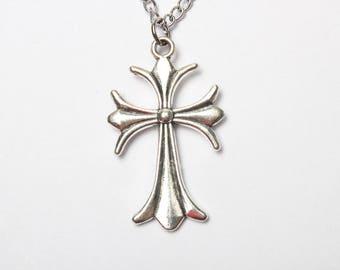 Cross Necklace, Ancient silver Cross Necklace, Tiny Cross Pendant, Small Cross Charm