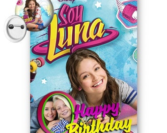 Disney Soy Luna Personalised Photo A5 Birthday With Free 50mm Badge