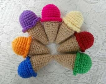 Minature Ice Cream Cones - Crochet Rainbow Dessert Pretend Play Knit Toy Food - Mini Doll's Picnic Teaparty Birthday Stocking Filler Gift