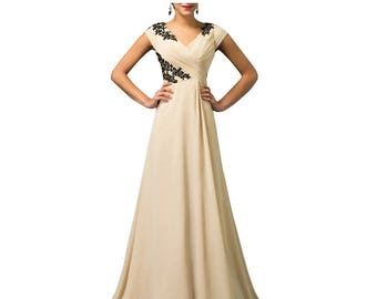 Modest V Neck Cap Sleeves Beige with Black Lace Applique Chiffon  Prom Party Special Occasion Dress.