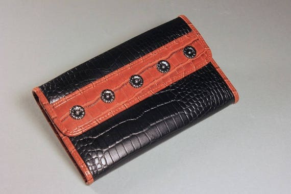 Faux Crocodile Trifold Wallet, Woman's Wallet, Black and Brown, Zippered Side Pocket, Snap Closure