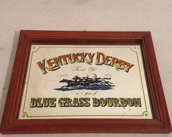 Former KENTUCKY DERBY Bourbon + frame Bar mirror Vintage wood
