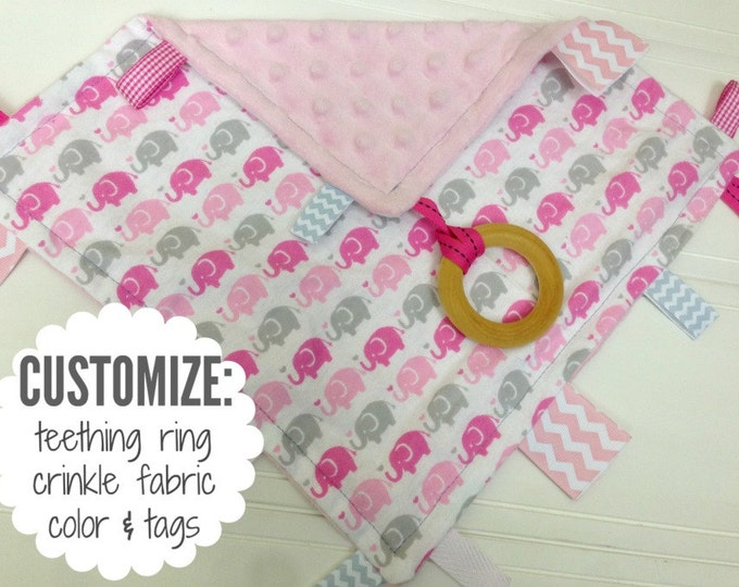 Baby Sensory Tag Blanket | Options: Natural Teething Ring, Crinkle Material, Color | Gray and Pink Elephants