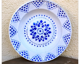 Vintage Enamel Floral Plate