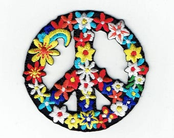 Peace Sign with Flowers - Iron on Applique - Embroidered Patch - 697102-A