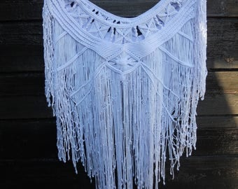 Festival Macrame Top, Handmade Halter, Boho Fringe Top, Bikini Cover up, Beach Dress, Macrame Poncho