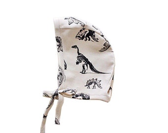 Cream Dinosaur Organic Cotton Bonnet