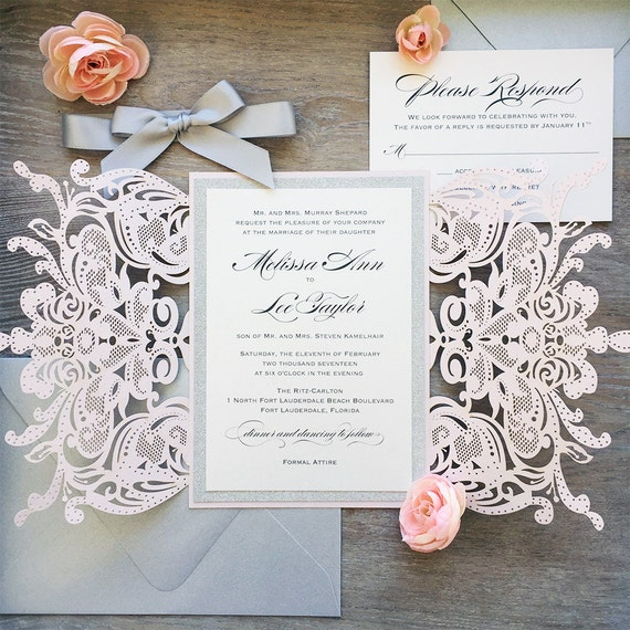 MELISSA GLITTER - Blush Laser Cut Wedding Invitation with Silver Glitter and Silver Satin Bow - Elegant Laser Cut Invite - Custom Colors