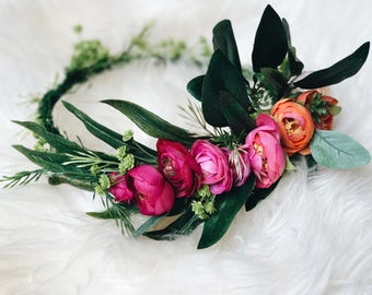 Bohemian Colorful Ranunculus Crown
