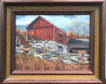 """Vintage Signed Original Oil Painting """"Connecticut Barn"""" by Chicago Artist Florence E. Hall"""