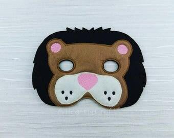 Lion Felt Mask - Lion Mask - Felt Mask - Soft Mask - Halloween Dress Up - Pretend Play - Halloween Mask - Party Favor - Party Bag Favor
