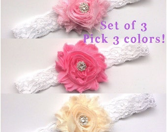 Set of 3! Pick your colors! Pink Headband,Baby headband, Pink Baby headband, Pink Rhinestone Headband, White Lace baby headband Photo Prop,