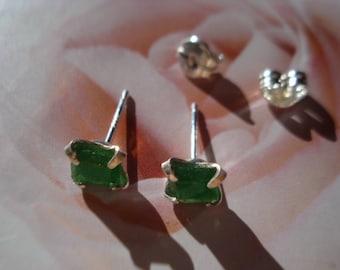 Emerald Green Earrings Sterling Silver E153