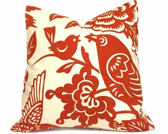 "Thomas Paul Modern Tangerine Orange Aviary Bird Print Throw Accent Pillow Home Decor Zippered Cushion Cover, 18"" 20"" 22"" 24"""
