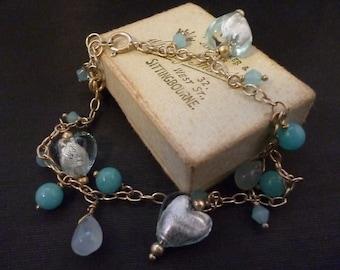 """Sterling silver love heart bead bracelet - Blue - 925 - 7"""""""