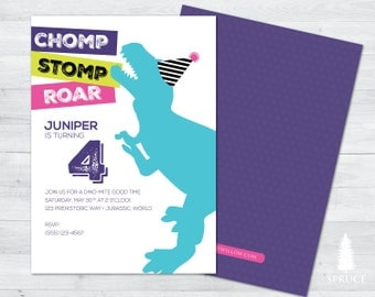 girl dinosaur birthday invitation, dinosaur birthday party, girl dinosaur birthday, girl dinosaur invitation, girl birthday invitation