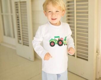 Christmas Tree & Tractor Appliqué Pants Set
