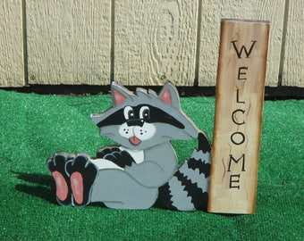 Raccoon Welcome Sign