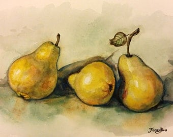 "Original Watercolor Painting, Pears, 8""x10"", 1701271"