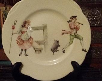 Royal Doulton plate, Bo peep and Tom Thumb, 1930s vintage china