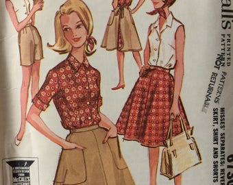McCall's 6730 misses reversible wrap skirt, shirt & shorts size 12 bust 32 waist 25 vintage 1960's sewing pattern