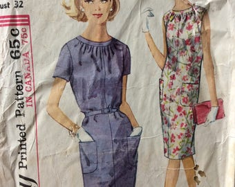 Simplicity 5406 misses dress size 12 bust 32 vintage 1960's sewing pattern  Uncut  Factory folds