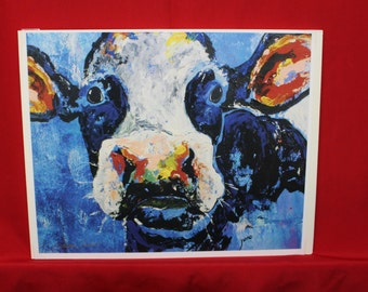 "Holstein print, Black & White Cow Print, Abstract Blue Cow Print, 11"" x 14"" Cow print"