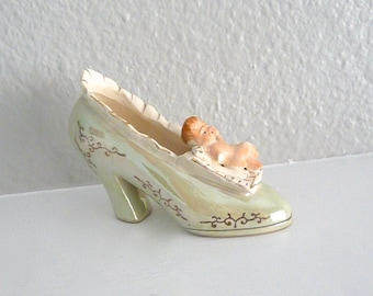 Vintage Shoe Figurine with Cherub