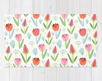 Tulip area rug girls room floral print rug pink green kids room 3x5 4x6 area rug bath mat woven throw rug flower illustration tulips