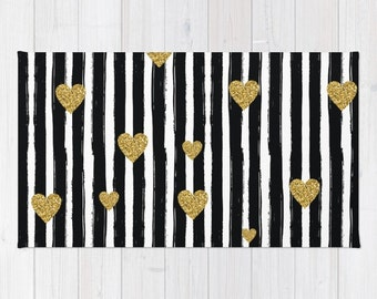 Gold Glitter Heart area rug Black and White Stripe 2x3 rug modern rug girls 3x5 rug 4x6 area rug dorm room throw rug heart dorm deco rugs