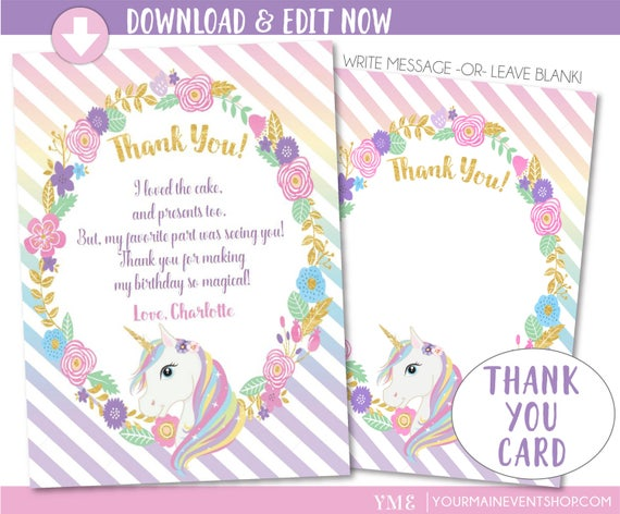 Unicorn Thank You Card, Unicorn Party, Magical Rainbow Unicorn Birthday Thank You Card Printable, Editable Instant Download