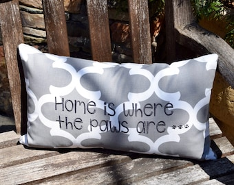 Grey Throw Pillow || Home is Where to Paws are Quatrefoil Accent Pillow Cover || Square Decorative Pillow by Three Spoiled Dogs