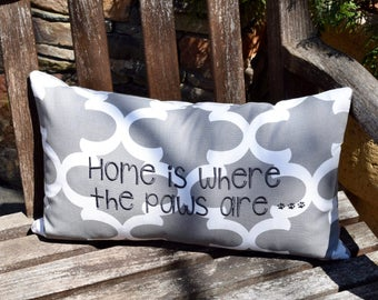 Grey Throw Pillow || Home is Where the Paws are Quatrefoil Accent Pillow Cover || Square Decorative Pillow by Three Spoiled Dogs
