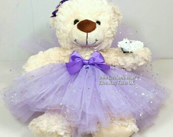 "Flower Girl Bridesmaid 16"" Teddy in a Tutu - Personalised Wedding Gift, Keepsake, Lilac Lavender Sparkly"