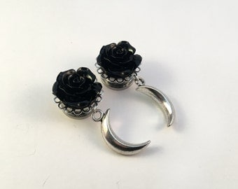 Gothic Crescent Moon Dangle Plugs (Pair), Stainless Steel With Black Roses, Goth Plugs, Gauges: 10mm 12mm 14mm 16mm 18mm 20mm 22mm