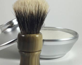 Hand-Turned Two-band finest fan Badger Hair Shave Brush in Faux Horn