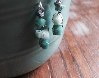 Wire Wrapped Stone Drop Earrings