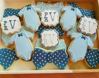 Bow ties, onesies and monogram cookies