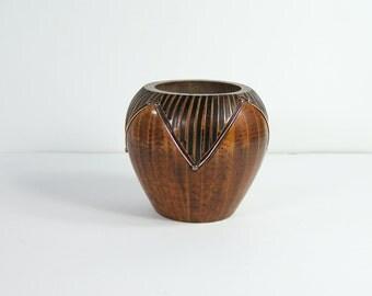 MCM wooden vase Turned and carved wooden vase  copper inlays 1950  vintage