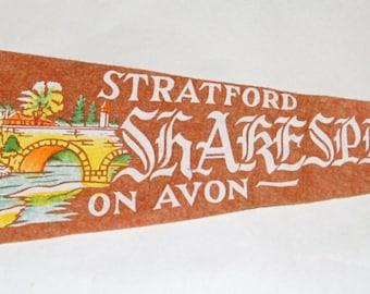 Genuine Vintage 1950s Stratford (Ontario) Shakespearean Festival Souvenir Felt Pennant — Free Shipping!