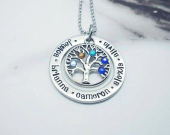 Family Tree Necklace  - Custom Mother's Day Gift - Birthstone Necklace - Mother's Jewelry - Grandmother Jewelry - Tree Jewelry - Hand Stamp