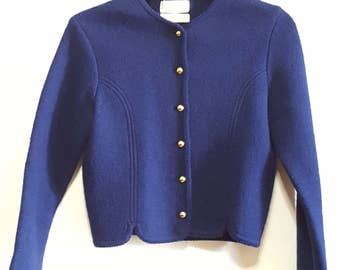 70s Vintage Sweater, Tally-Ho Wool Cardigan, Womens, medium, navy, Cardigans, Buttons, Knitwear, Jackets, Blazers, Fall, Clothing, Outerwear