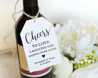 Wine Tags, Printable Wedding Favor Tags Template, Cheers Favor Tag, INSTANT DOWNLOAD, Modern Calligraphy VW10, Two Sizes Included