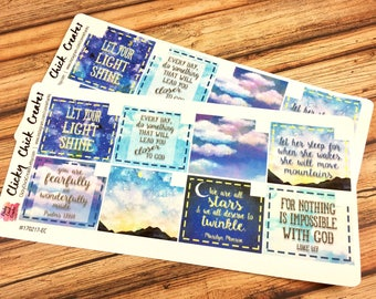 MONTHLY Spread Deco BOXES Planner Stickers! FAITHFUL Sky Collection, Inkwell, Happy Planner, Erin Condren {170217}