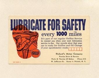 Gulf Oil Company Advertising UX27 US Postal Card Gulflex Service Richards Motor Co Pontiac Sale & Service Pulaski NY Unused Safety ~ 8200P