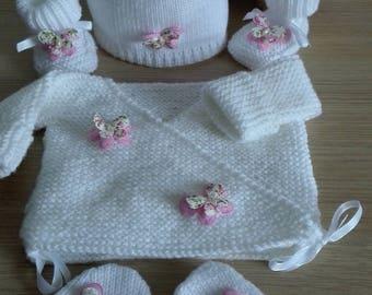 Baby jacket set booties bonnet mittens