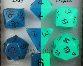 Blue Glow in the Dark Dice Set for Dungeons & Dragons, dnd, rpg games