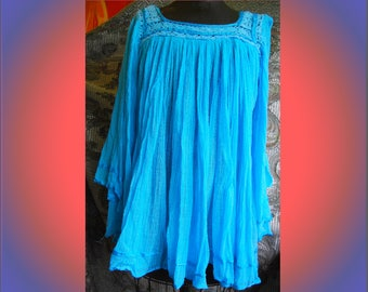 Aqua Cotton gauze Angel Wing Sleeves, several holes, mainly in the arms...perfect for hippy costume!