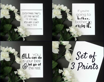 """College Student Quote Prints Gift Set of 3 Modern Encouragement Motivation Quote Gallery Wall 5x7"""" 8x10"""" Prints - Dorm Room Decor"""