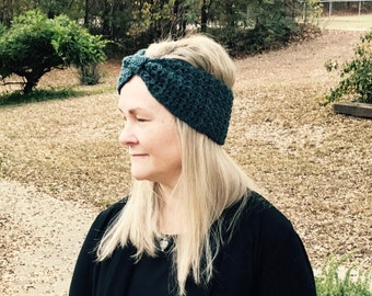 Bow crochet ear warmer